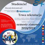 Studencie! Trwa rekrutacja na wyjazd ERASMUS+!
