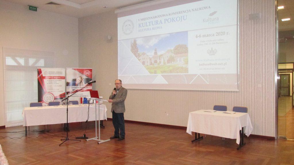 Przemowa Rektora Wyższej Szkoły Bezpieczeństwa z siedzibą w Poznaniu podczas konferencji - Kultura Pokoju - 2020
